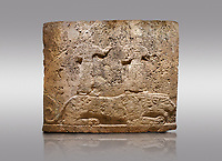 Picture &amp; image of Hittite relief sculpted orthostat stone panel of Long Wall Limestone, Karkamıs, (Kargamıs), Carchemish (Karkemish), 900-700 B.C. Anatolian Civilisations Museum, Ankara, Turkey<br /> <br /> Two figures lying over the lion. There is a crescent at the head of the winged god at the front. It is thought that the figure at the front is moon god and the one at the rear is sun god.