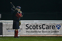 Scottish piper during the Championship Cup match between London Scottish Football Club and Ealing Trailfinders at Richmond Athletic Ground, Richmond, United Kingdom on 23 November 2018. Photo by David Horn/PRiME Media Images
