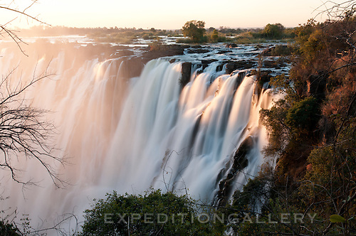 Victoria Falls at sunset, from the Zambian side.