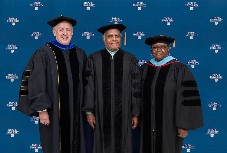 VIP Photos - 2014 DePaul University College of Education commencement ceremony, Saturday, June 14, 2014, Rosemont Theatre; Paul Zionts, dean of the College of Education, Nell Cobb and Robert Moses, commencement speaker and honorary degree recipient. (DePaul University/Jeff Carrion)