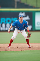 Clearwater Threshers third baseman Luke Williams (9) during a game against the St. Lucie Mets on August 11, 2018 at Spectrum Field in Clearwater, Florida.  St. Lucie defeated Clearwater 11-0.  (Mike Janes/Four Seam Images)