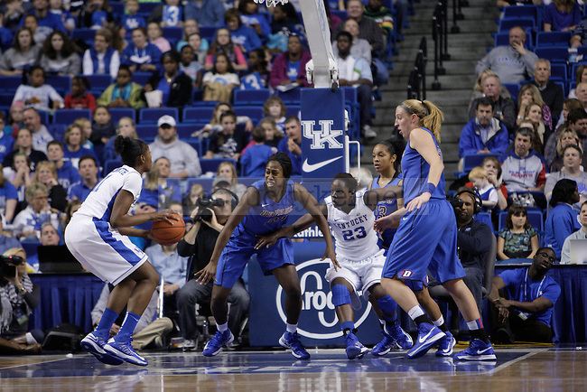 UK center DeNesha Stallworth shoots while forward/center Samarie Walker waits for the rebound during the first half of the women's basketball game v. Depaul University in Rupp Arena in Lexington, Ky., on Sunday, December 7, 2012. Photo by Genevieve Adams | Staff