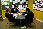 Comprehensive Secondary School 1990s UK. Playing cards in lunch break. Sheffield Yorkshire 1990.
