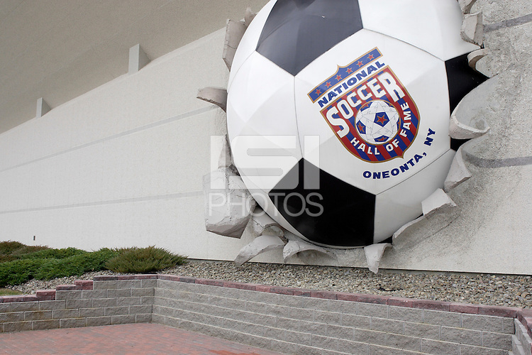 A giant exploding soccer ball adorns the exterior of the National Soccer Hall of Fame and Museum, Oneonta, NY. Monday October 11, 2004.