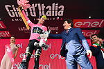 Race leader Simon Yates (GBR) Mitchelton-Scott retains the  Maglia Rosa at the end of Stage 18 of the 2018 Giro d'Italia, running 196km from Abbiategrasso to Prato Nevoso, Italy. 24th May 2018.<br /> Picture: LaPresse/Massimo Paolone | Cyclefile<br /> <br /> <br /> All photos usage must carry mandatory copyright credit (&copy; Cyclefile | LaPresse/Massimo Paolone)