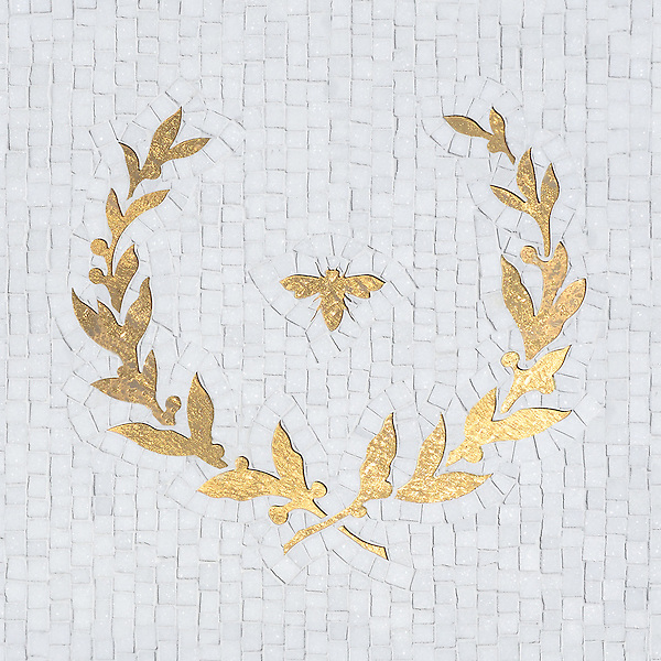 Louis, a handmade mosaic shown in waterjet cut 24K Gold Glass and honed hand-chopped Thassos, is part of the Aurora™ Collection by Sara Baldwin for New Ravenna.