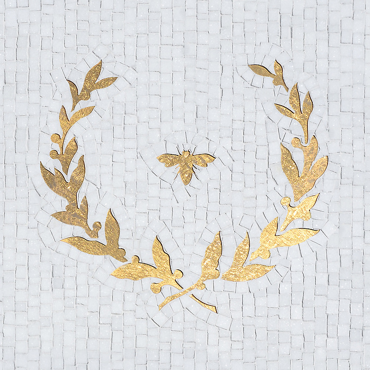 Louis, a handmade mosaic shown in waterjet cut 24K Gold Glass and honed hand-chopped Thassos, is part of the Aurora® collection by Sara Baldwin for New Ravenna.
