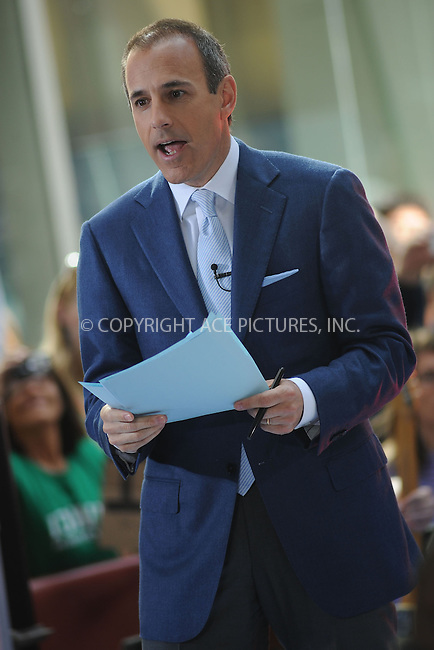 WWW.ACEPIXS.COM . . . . . ....May 23 2008, New York City....TV personality Matt Lauer on NBC's 'Today' show at the Rockefeller Plaza in midtown Manhattan.....Please byline: KRISTIN CALLAHAN - ACEPIXS.COM.. . . . . . ..Ace Pictures, Inc:  ..(646) 769 0430..e-mail: info@acepixs.com..web: http://www.acepixs.com