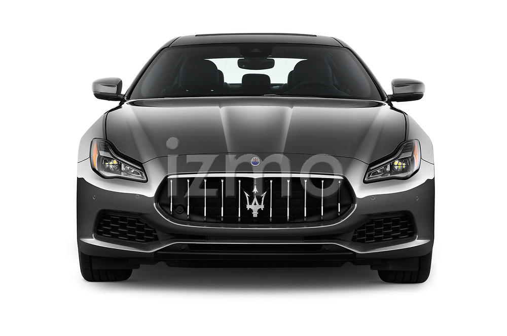 Car photography straight front view of a 2018 Maserati Quattroporte S 4 Door Sedan