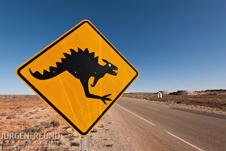 Australian kangaroo sign turned dinosaur from Andamooka.