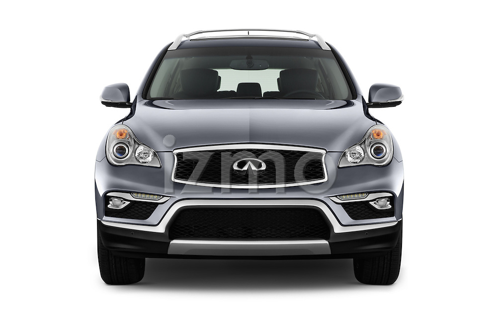 Car photography straight front view of a 2017 Infiniti QX50 - 5 Door Suv Front View