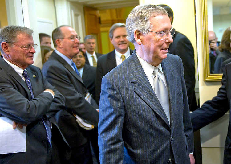 UNITED STATES - NOVEMBER 30: Senate Minority Leader Mitch McConnell, R-Ky., arrives for a news conference on energy legislation regarding the Keystone XL Pipeline. (Photo By Chris Maddaloni/CQ-Roll Call).