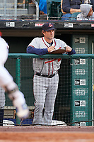 Gwinnett Braves pitching coach Reid Cornelius (38) during a game against the Buffalo Bisons on August 19, 2017 at Coca-Cola Field in Buffalo, New York.  Gwinnett defeated Buffalo 1-0.  (Mike Janes/Four Seam Images)