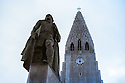 Iceland. 03.02.2017. Hallgrímskirkja, a Lutheran parish church, designed by architect, Guðjón Samúelsson, commissioned in 1937. He is said to have designed it to resemble the basalt lava flows of Iceland's landscape. The statue of explorer Leif Eriksson (c. 970 – c. 1020) by Alexander Stirling Calder in front of the church predates its construction. It was a gift from the United States in honor of the 1930 Alþingi Millennial Festival, commemorating the 1000th anniversary of Iceland's parliament at Þingvellir in 930 AD. Photograph © Jane Hobson.