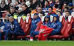 Arsenal's Arsene Wenger looks on with Wojciech Szczesny from the bench<br /> <br /> Barclays Premier League - Arsenal vs Aston Villa - Emirates Stadium  - England - 1st February 2015 - Picture David Klein/Sportimage