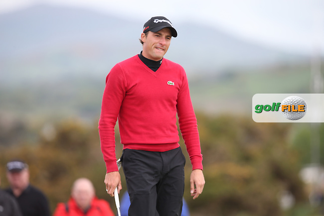Benjamin Hebert (FRA) forlorn after taking three chips onto the green on the 8h from 12 feet during Round Three of the 2015 Dubai Duty Free Irish Open Hosted by The Rory Foundation at Royal County Down Golf Club, Newcastle County Down, Northern Ireland. 30/05/2015. Picture David Lloyd | www.golffile.ie