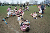 01 MAR 2008 - SCUNTHORPE, UK - Loughborough Students players stretch after the match - Scunthorpe RUFC  v Loughborough Students RUFC. (PHOTO (C) NIGEL FARROW)