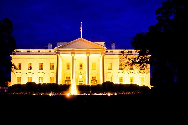 The White House at twilight in Washington DC, USA