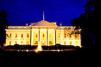 The White House at twilight in Washington DC, USA