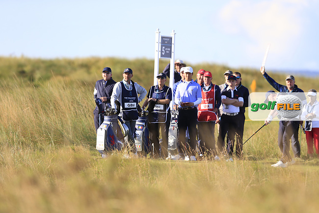 Alex Fitzpatrick (GB&I) on the 5th tee during the final day foursomes matches at the Walker Cup, Royal Liverpool Golf Club, Hoylake, Cheshire, England. 08/09/2019.<br /> Picture Fran Caffrey / Golffile.ie<br /> <br /> All photo usage must carry mandatory copyright credit (© Golffile   Fran Caffrey)