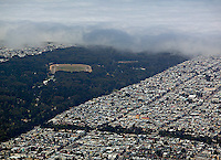 aerial photograph Golden Gate Park fog San Francisco