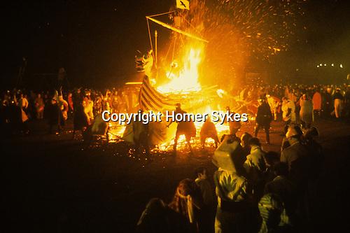 Up Helly Aa. Lerwick Sheltand. Scotland. Fire festival burning Viking Long Boat. January 31st