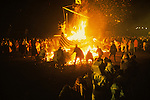 Up Helly Aa. Lerwick Sheltand. Scotland. Fire festival burning Viking Long Boat. January 31st
