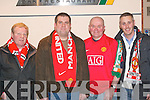 UNITED WE STAND: Manchester United fans at Kerry Airport last Friday evening about to board their flight for the Manchester Darby on Sunday, which also coincided with the 50th Anniversary of the Munich Air Disaster. L-r: Francis Boyle, Kenneth Fenix, John O'Shea and Jamie Bolger, all Tralee.   Copyright Kerry's Eye 2008