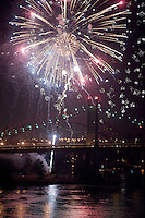 Fireworks over the Triborough Bridge in New York City.