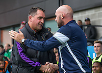Martin Allen manager of Barnet greets John McGreal manager of Colchester United during the EFL Sky Bet League 2 match between Barnet and Colchester United at The Hive, London, England on the 17th September 2016. Photo by Liam McAvoy.