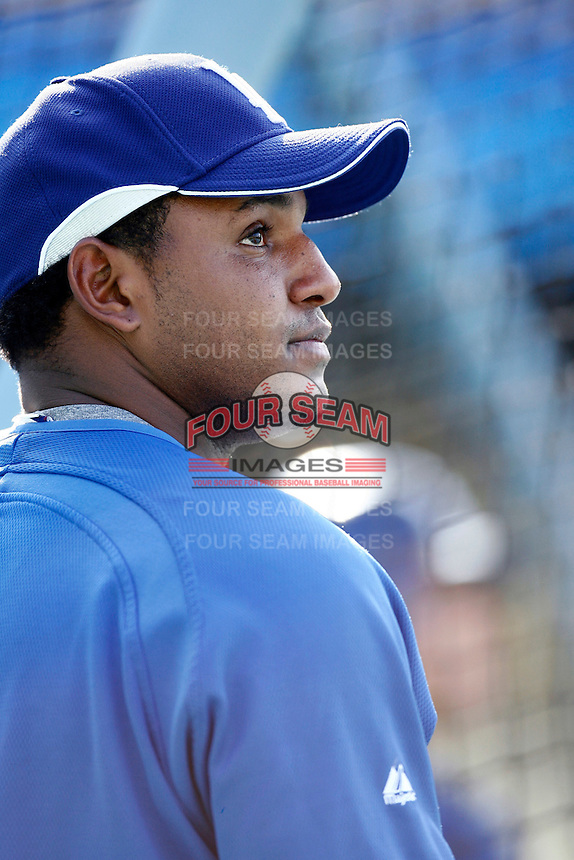 Tony Abreu of the Los Angeles Dodgers during batting practice before a 2007 MLB season game at Dodger Stadium in Los Angeles, California. (Larry Goren/Four Seam Images)