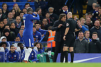 Chelsea Manager, Antonio Conte, exchanges words with referee, Anthony Taylor during Chelsea vs Manchester United, Premier League Football at Stamford Bridge on 5th November 2017