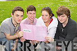 Leaving Cert students from Brookfield College, Tralee pictured on Wednesday, from left: Johnny Fisher (Ballyheigue), Wayne Lacey (Ardfert), Rose O?Faolain (Tralee) and Ryan Fisher (Ballyheigue).