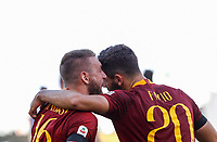 Roma's Federico Fazio, right, celebrates with his teammate Daniele De Rossi after scoring during the Italian Serie A football match between Roma and Lazio at Rome's Olympic stadium, September 29, 2018. Roma won 3-1.<br /> UPDATE IMAGES PRESS/Riccardo De Luca