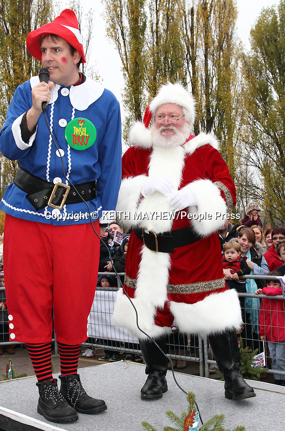 Santa Claus arrived in style accompanied by his elves and the cast of the Milton Keynes Theatre Pantomime to usher in the start of the Christmas Season at Frosts Garden Centre, Woburn Sands nr Milton Keynes - November 16th 2013<br /> <br /> Hundreds of excited children lined the avenue into the centre to meet Santa at his Christmas Grotto later. The Ice Rink and adjoining 'Hungry Moose' cafe also opened for business today as the 2013 Festive season at Frosts was well and truly declared open.<br /> <br /> Photo by Keith Mayhew
