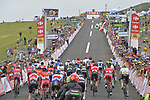Riders approach the finish of Stage 12 of the 104th edition of the Tour de France 2017, running 214.5km from Pau to Peyragudes, France. 13th July 2017.<br /> Picture: ASO/Bruno Bade | Cyclefile<br /> <br /> <br /> All photos usage must carry mandatory copyright credit (&copy; Cyclefile | ASO/Bruno Bade)