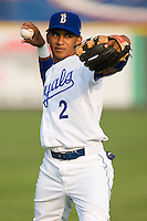 Angel Franco (2) of the Burlington Royals warms-up at Burlington Athletic Park in Burlington, NC, Saturday, July 26, 2008. (Photo by Brian Westerholt / Four Seam Images)