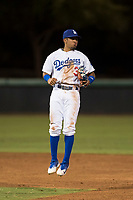 AZL Dodgers second baseman Kenneth Betancourt (3) reacts after a missed call by the umpire during an Arizona League game against the AZL White Sox at Camelback Ranch on July 3, 2018 in Glendale, Arizona. The AZL Dodgers defeated the AZL White Sox by a score of 10-5. (Zachary Lucy/Four Seam Images)