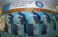 Players shirts hang in the dressing room during the Sky Bet League 2 match between Wycombe Wanderers and Accrington Stanley at Adams Park, High Wycombe, England on 16 August 2016. Photo by Andy Rowland.