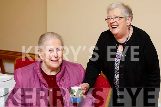 Catherine Aherne and Mary Kennedy from Ballylongford enjoying a chat at the Ballylongford Active Retirement Coffee Morning in aid of the Irish Heart Foundation in the Parish Hall on Friday morning last.