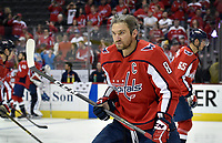WASHINGTON, DC - APRIL 04: Washington Capitals left wing Alex Ovechkin (8) holds an intense stare during warm ups before the Montreal Canadiens vs. Washington Capitals NHL hockey game April 4, 2019 at Capital One Arena in Washington, D.C.. (Photo by Randy Litzinger/Icon Sportswire)
