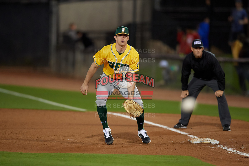 Siena Saints first baseman Eddie Sweeney (20) during a game against the UCF Knights on February 14, 2020 at John Euliano Park in Orlando, Florida.  UCF defeated Siena 2-1.  (Mike Janes/Four Seam Images)