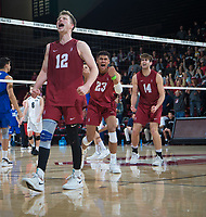 STANFORD, CA - March 2, 2019: Jordan Ewert, Jaylen Jasper, Kyler Presho at Maples Pavilion. The Stanford Cardinal defeated BYU 25-20, 25-20, 22-25, 25-21.
