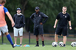 ELON, NC - SEPTEMBER 02: Presbyterian head coach Jonathan Potter (right) with assistants. The Elon University Phoenix hosted the Presbyterian College Blue Hose on September 2, 2017 at Rudd Field in Elon, NC in a Division I college soccer game. Elon won the game 2-0.