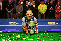 Mark Williams (Pictured) Lifts the Trophy as Winner of the  World Snooker Championship 2018 against John Higgins<br /> 