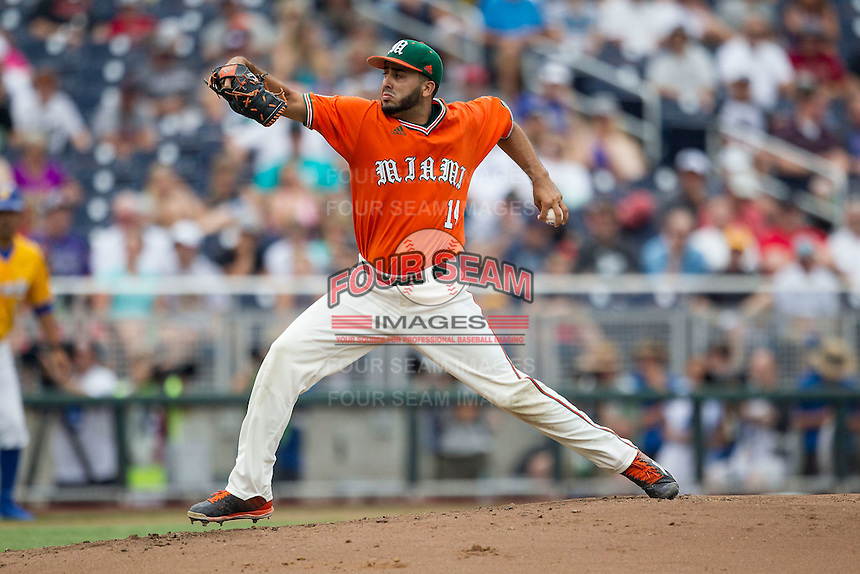 Miami Hurricanes pitcher Danny Garcia (14) delivers a pitch to the plate against the UC Santa Barbara Gauchos in Game 5 of the NCAA College World Series on June 20, 2016 at TD Ameritrade Park in Omaha, Nebraska. UC Santa Barbara defeated Miami  5-3. (Andrew Woolley/Four Seam Images)