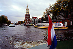 Tour boats on an Amsterdam canal.