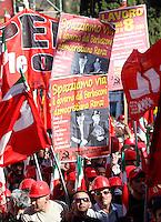 Manifestazione della CGIL contro il Jobs Act del governo, a Palazzo Chigi, Roma, 25 ottobre 2014.<br /> CGIL union demonstration against the government's Jobs Act labour reform, in Rome, 25 October 2014.<br /> UPDATE IMAGES PRESS/Riccardo De Luca
