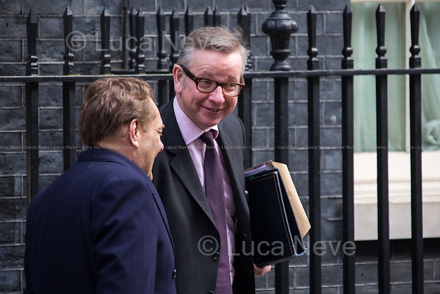 (On the R) Michael Gove MP (Chief Whip and Parliamentary Secretary to the Treasury).<br /> <br /> London, 18/03/2015. British Government's weekly Cabinet meeting held at 10 Downing Street before the Chancellor's announcement of the Budget for the fiscal year 2015.