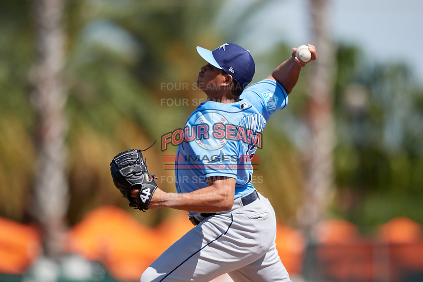 Tampa Bay Rays relief pitcher Yonny Chirinos (72) delivers a pitch during a Grapefruit League Spring Training game against the Baltimore Orioles on March 1, 2019 at Ed Smith Stadium in Sarasota, Florida.  Rays defeated the Orioles 10-5.  (Mike Janes/Four Seam Images)